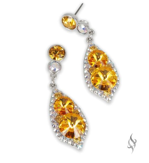 ALI CLAIRE Lemon Yellow Crystal Drop Earrings from Stefanie Somers