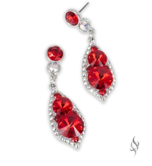 ALI CLAIRE Red Crystal Drop Earrings from Stefanie Somers