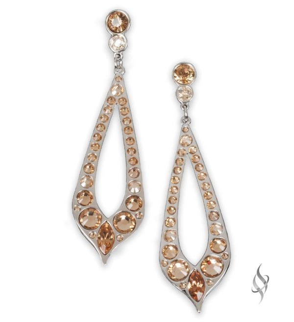 BARBARY Nude Crystal Hoop Earrings from Stefanie Somers