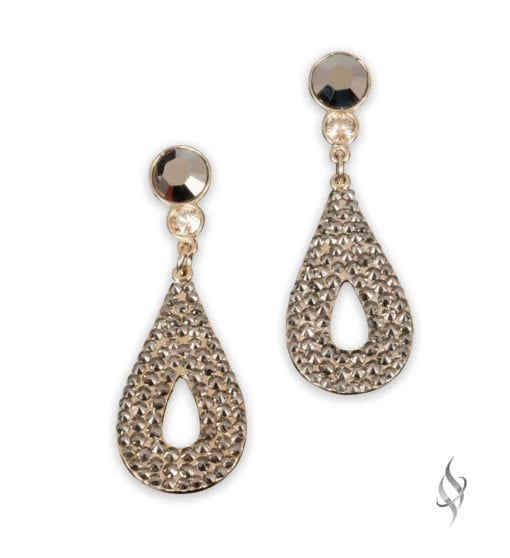 CALLY Mini Metallic Gold Crystal Pavé Drop Earrings from Stefanie Somers