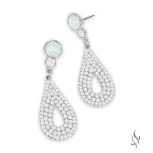 CALLY Mini White Opal Crystal Pavé Drop Earrings from Stefanie Somers