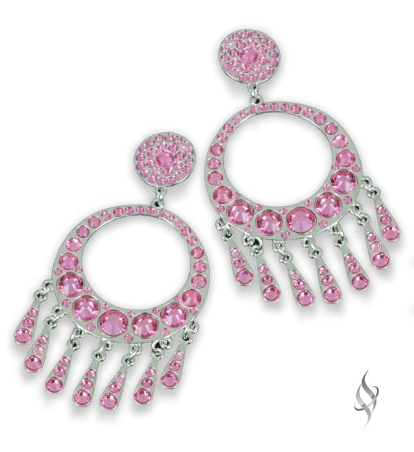 CANNES Rose Pink Crystal Swarovski Fringed Hoop Drop Earrings from Stefanie Somers