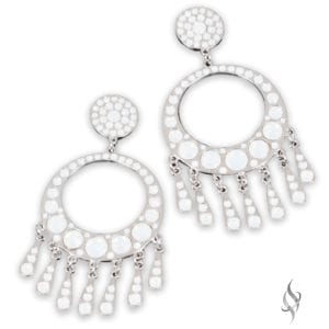 CANNES Opal Crystal Swarovski Fringed Hoop Drop Earrings from Stefanie Somers