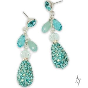 DARIEN Turquoise Crystal Drop Earrings from Stefanie Somers