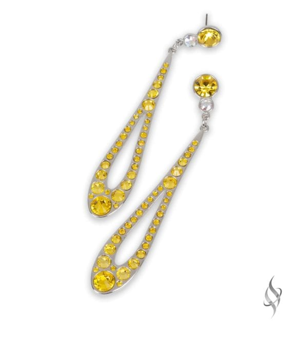 DEWDROP Citrine Yellow Crystal Linear Drop Earrings from Stefanie Somers