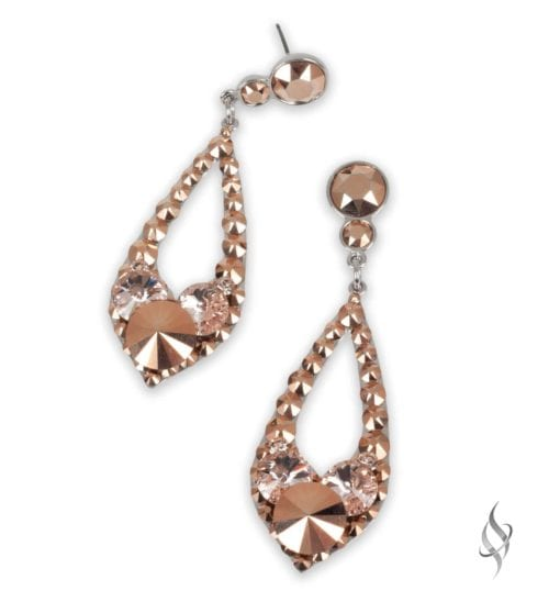 ELISSA Demi Rosegold Crystal Drop Hoop Earrings from Stefanie Somers