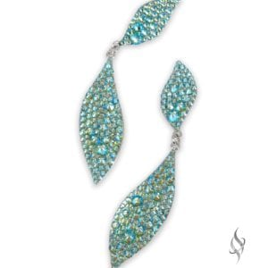 FALLON Demi Crystal Drop earrings from Stefanie Somers in Peridot Shimmer
