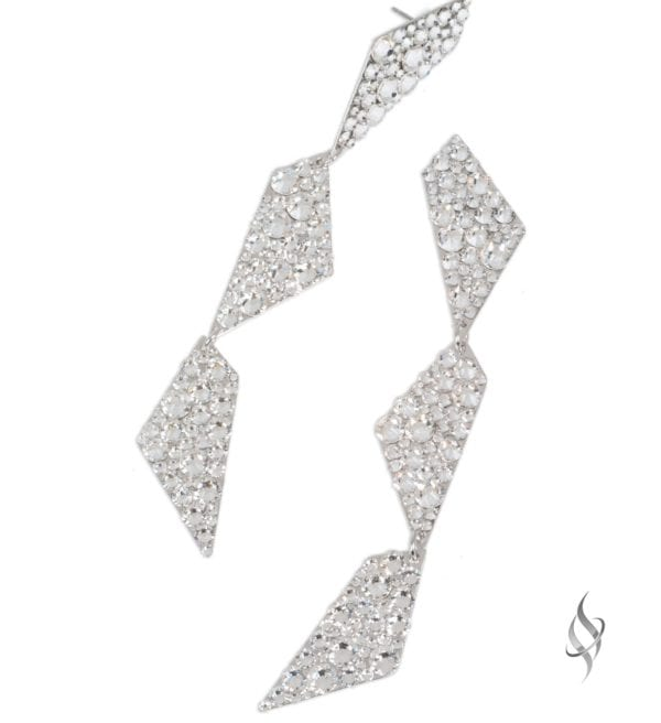 FRACTAL Crystal Swarovski Geometric Linear Drop Earrings from Stefanie Somers