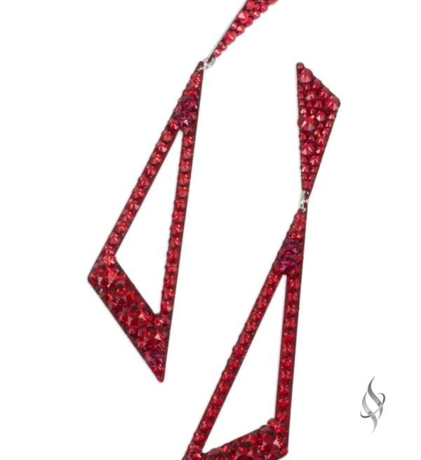 JAGGED Scarlet Red Crystal Swarovski Geometric Drop Earrings from Stefanie Somers