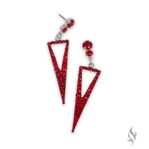 JENNA Demi Red Crystal Triangle Geometric Drop Earrings from Stefanie Somers