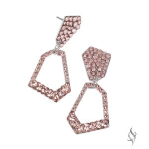 SKYLIGHT Swarovski Vintage Rose Pink Crystal Geometric Drop Hoop Earrings