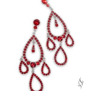 SPLASH Red Crystal Drop Chandelier Earrings from Stefanie Somers