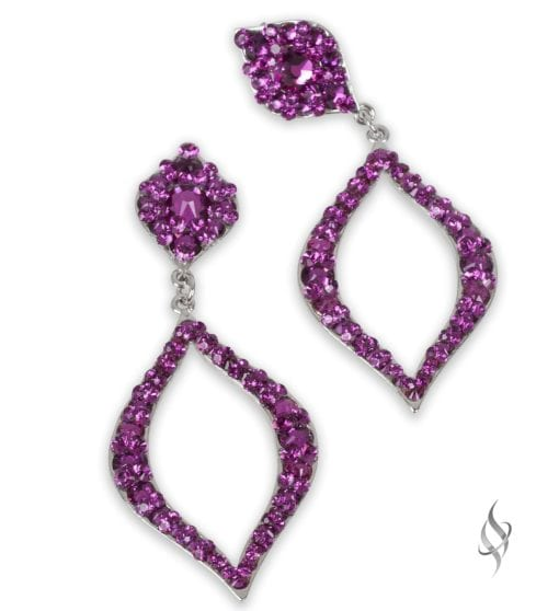 Calais Large peacock eye crystal earrings in Fuchsia from Stefanie Somers