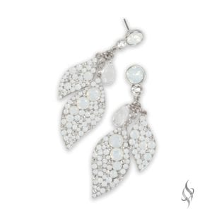 Equinox Crystal pavé leaf dangle earrings in Artic from Stefanie Somers