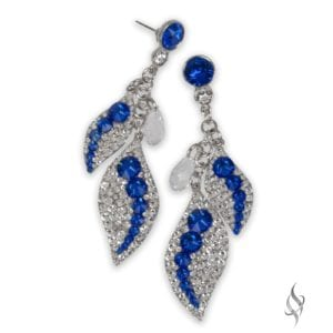 Equinox Crystal pavé leaf dangle earrings in Majestic from Stefanie Somers