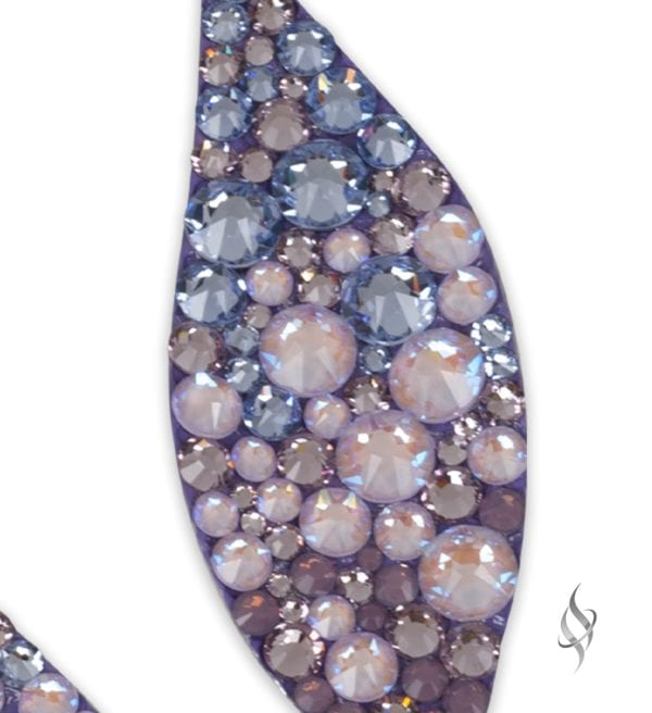 Fallon Chunky crystal leaf earrings in Lavender Tertiary ombre zoom from Stefanie Somers