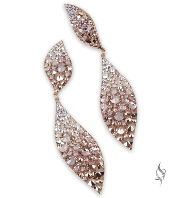 Fallon Chunky crystal leaf earrings in Rose Gold Tertiary ombre from Stefanie Somers