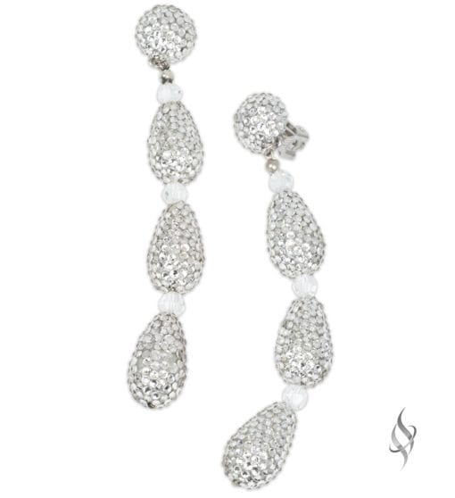Giovanna Long crystal pave teardrop earrings in crystal from Stefanie Somers