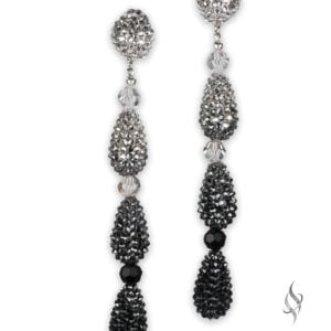 Giovanna Long crystal pave teardrop earrings in Black Ombre from Stefanie Somers