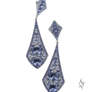 KINSER Long crystal pavé drop earrings in ChardonnayKINSER Long crystal pavé drop earrings in Periwinkle from Stefanie Somers