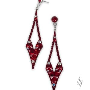 LEAH Pointy crystal cluster drop earrings in Red from Stefanie Somers