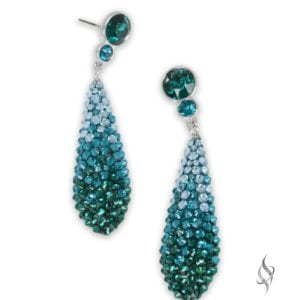 LISA Small skinny crystal pavé teardrop earrings in Trellis Ombre from Stefanie Somers