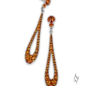 Marseilles Long crystal teardrop earrings in Tangerine from Stefanie Somers