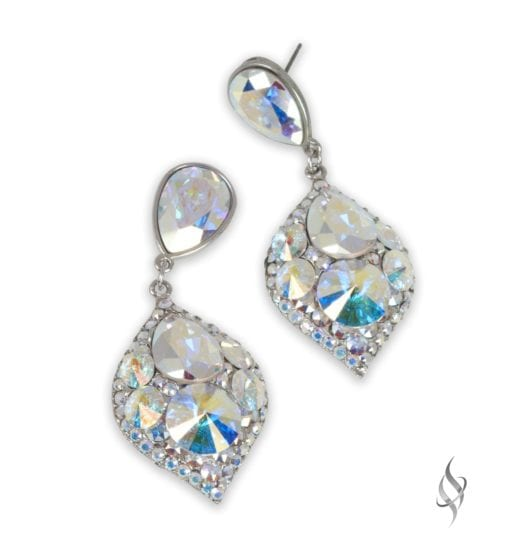 MINSK Small crystal cluster drop earrings in Crystal AB from Stefanie Somers
