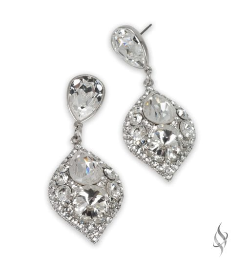 MINSK Small crystal cluster drop earrings in Crystal from Stefanie Somers