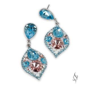 MINSK Small crystal cluster drop earrings in Fairy from Stefanie Somers