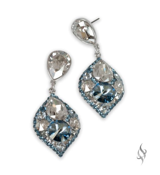 MINSK Small crystal cluster drop earrings in Cloud from Stefanie Somers