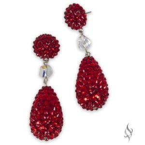 OLIVIA Crystal pavé pearl drop earrings in Red from Stefanie Somers