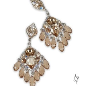 PASHA Medium chunky crystal earrings in Nude from Stefanie Somers