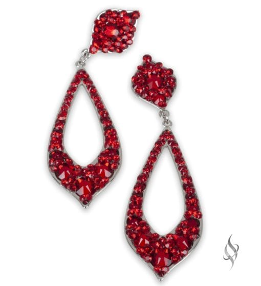 Peregrine Sparkly crystal pointy hoop earrings in Red from Stefanie Somers