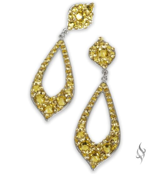 Peregrine Sparkly crystal pointy hoop earrings in Sunflower from Stefanie Somers