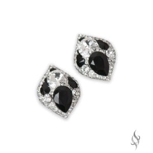 PETRA Crystal cluster button earrings in Tuxedo from Stefanie Somers