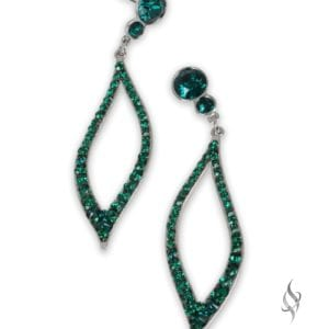 Rainforest Light weight crystal leaf earrings in Emerald from Stefanie Somers