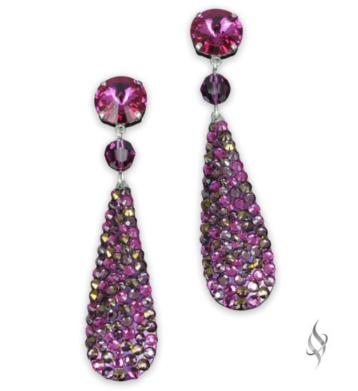 Ripley Crystal pavé paddle drop earrings in Berry from Stefanie Somers