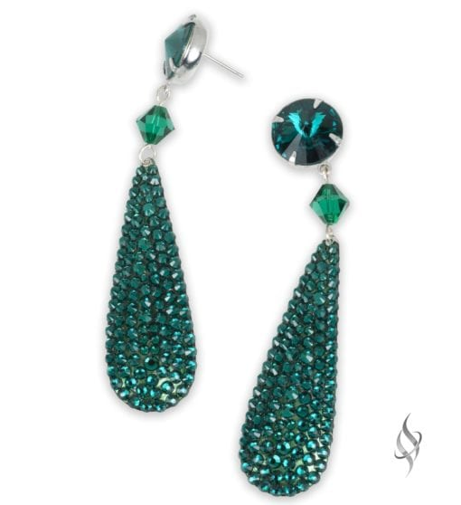 Ripley Crystal pavé paddle drop earrings in Emerald from Stefanie Somers
