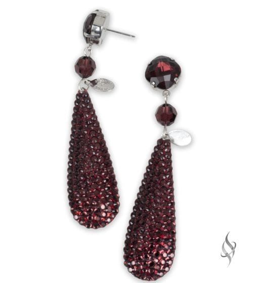 Ripley Crystal pavé paddle drop earrings in Merlot from Stefanie Somers