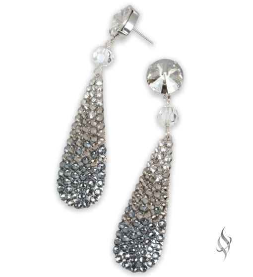 Ripley Crystal pavé paddle drop earrings in Ombre Greige from Stefanie Somers