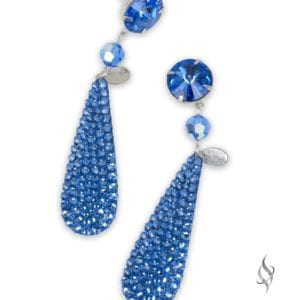 Ripley Crystal pavé paddle drop earrings in Sapphire from Stefanie Somers
