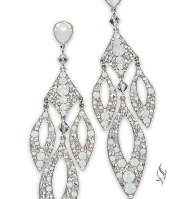 Staci Crystal Pave chandelier earrings in Arctic from Stefanie Somers