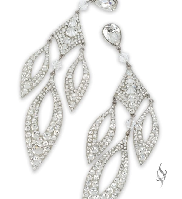 Staci Crystal Pave chandelier earrings in Crystal from Stefanie Somers