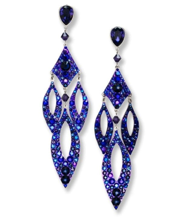 Staci Crystal Pave chandelier earrings in Dusk from Stefanie Somers
