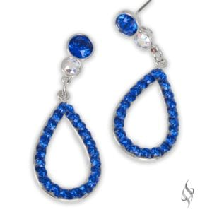 Water Small classic crystal hoop earrings in Sapphire from Stefanie Somers