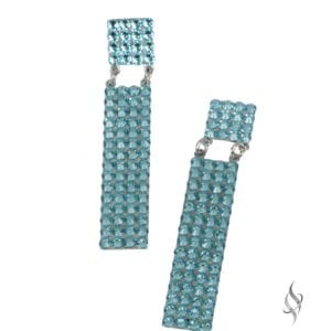 Willow Geometric Crystal pavé earrings in Light Turquoise from Stefanie Somers