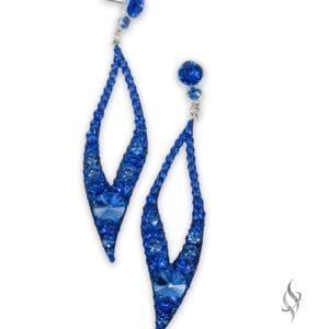 Zoe Large open leaf crystal earrings in Sapphire from Stefanie Somers