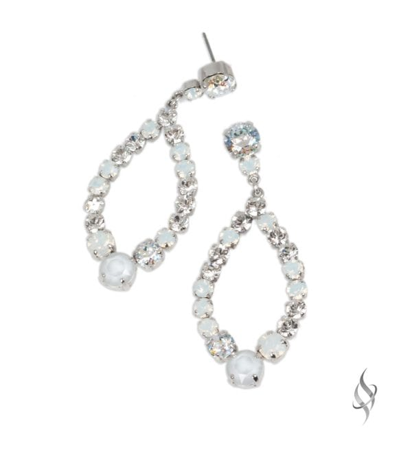 ADELE Mini Runway Crystal Hoop in Snow from Stefanie Somers