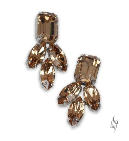 AMBER Simple Crystal Cluster Earrings in Nude from Stefanie Somers